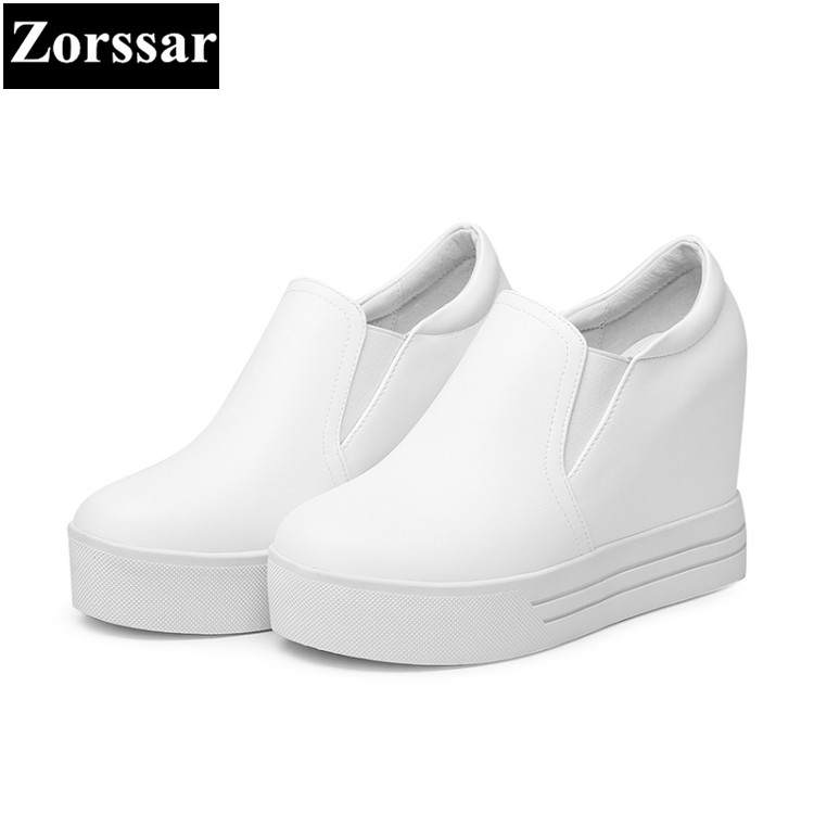 {Zorssar} 2017 Summer NEW Genuine leather Womens Platform Shoes Wedges High heels Pumps Casual height increasing women shoes