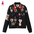 Fashion Corduroy Patch Designs Tiger Epaulet Letter Pattern Embroidery Bomber Jacket Turn-down Collar Single-breasted Outerwear