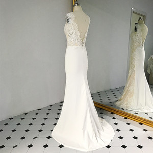 Image 4 - RSW1431 Sleeveless V Neckline Back Mermaid Lace Ivory And Champagne Color Wedding Dress