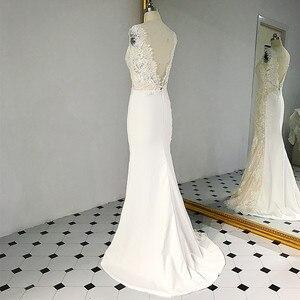 Image 4 - RSW1431 bez rękawów dekolt w kształcie litery V powrót syrenka koronki kości słoniowej i szampan kolor suknia ślubna