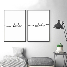 Minimalist Black White Exhale Inhale Letters Canvas Paintings Abstract Nordic Poster Print Wall Art Picture Kids Room Home Decor