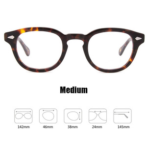 Image 3 - Johnny Depp gözlük erkekler kadınlar bilgisayar gözlük yuvarlak şeffaf gözlük marka tasarım asetat tarzı Vintage çerçeve sq004