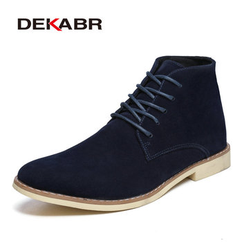 DEKABR Brand Men Ankle Boots Fashion Chelsea Boots Daily Comfortable Shoes Black Classic Boots Men Work Footwear Botas Hombre