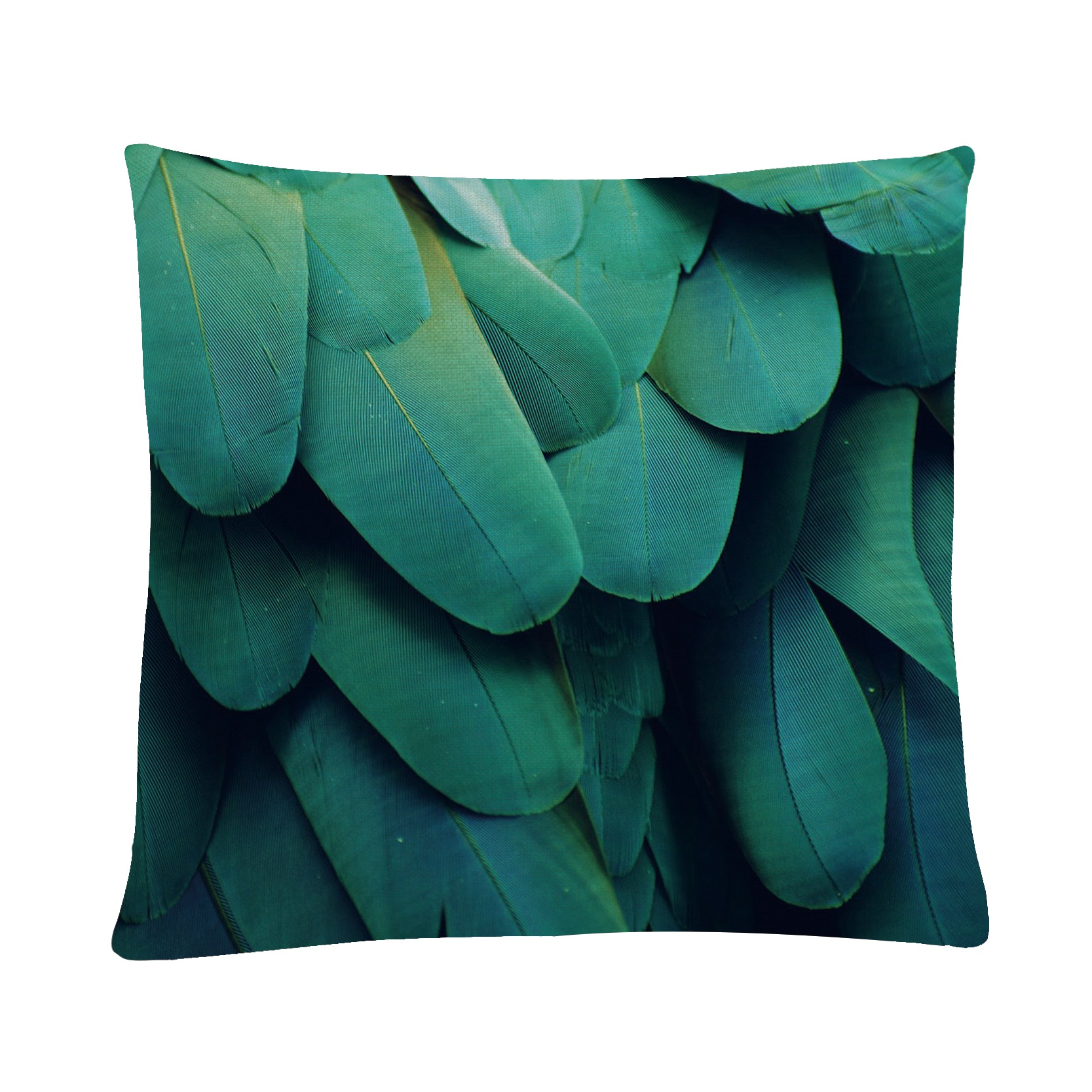 Fashion Cushion Cover Green Feathers Printed Cotton Linen Pillowcase For Sofa Chair Bed Throw Pillow Decoration 45*45cm