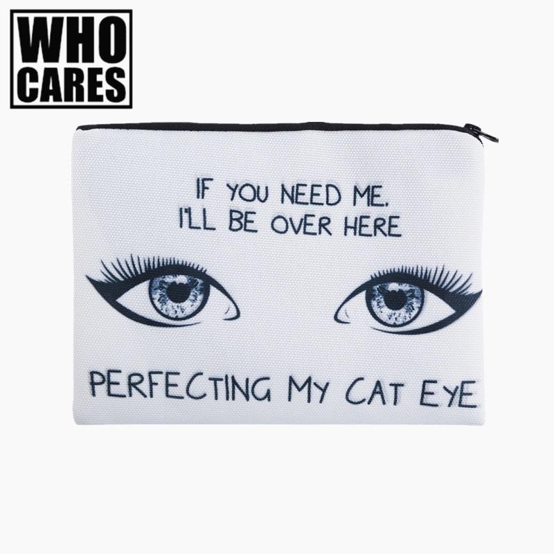 CAT EYE 3D Printing simple makeup bag neceser 2017 New who cares Cosmetic case women trousse de maquillage organizer pencil case