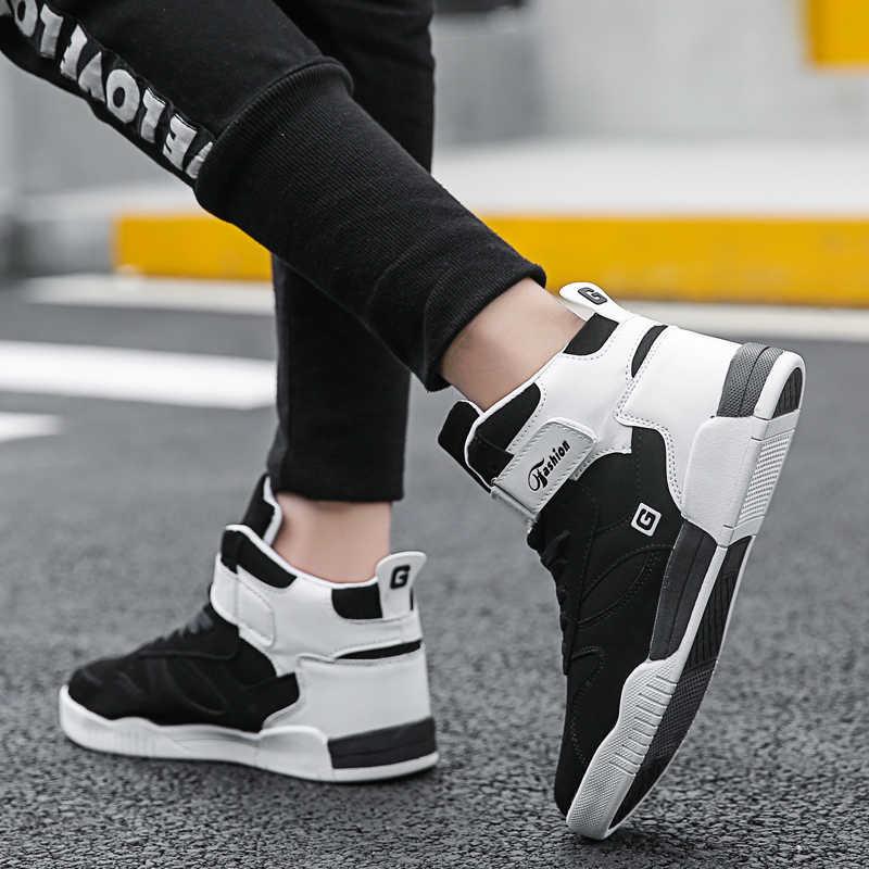 Sepatu Pria 2019 Gugur Musim Dingin Kulit PU Klasik Tinggi Top Vulcanized Sepatu Fashion Pria Sepatu Pria ukuran Besar 46