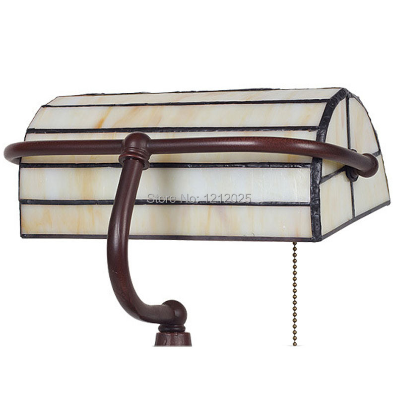 Tiffany Style Bankers Lamp Stand Table Lamps Reading Luminarias Bedroom  Office Living Room Desk Light Stained Glass Lampshade In Table Lamps From  Lights ...