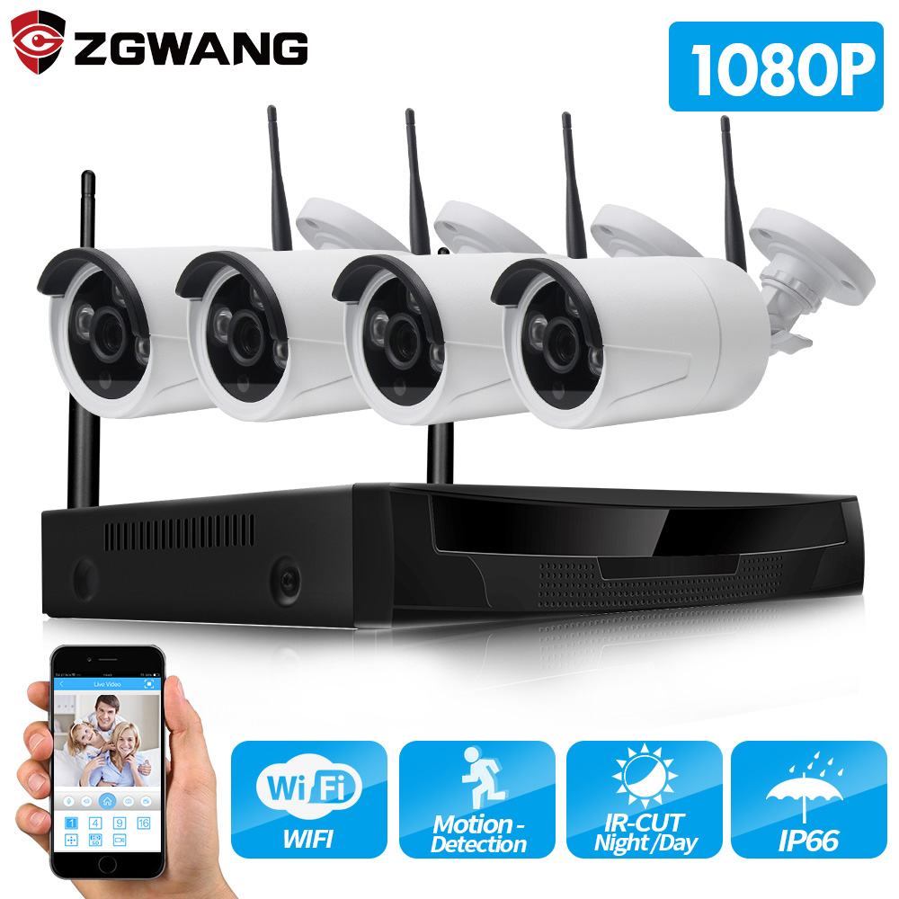 ZGWANG Wireless CCTV System 1080P 2MP 4CH NVR IP IR-CUT outdoor CCTV Camera IP Security System video Surveillance Kit 1TB HDD