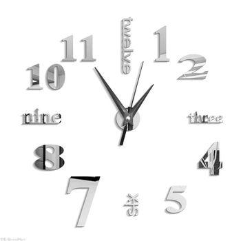 3D Large Wall Clock Mirror Sticker Big Watch Sticker Home Decor Unique Gift DIY silver 1