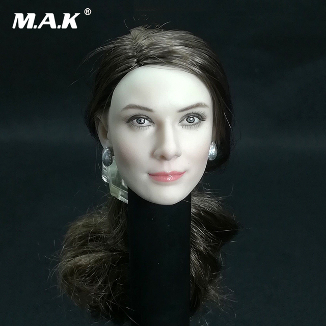 1 6 Audrey Hepburn Head Carving With long brown Long curly Hair Female head  Model F 12