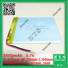 New Polymer Li-ion Lipo battery three.7V 3500 mAh for ipod GPS,for iPAQ,for PSP Pill PC 357090,Dimension:three.5x70x90mm three.7 v 3500 mah