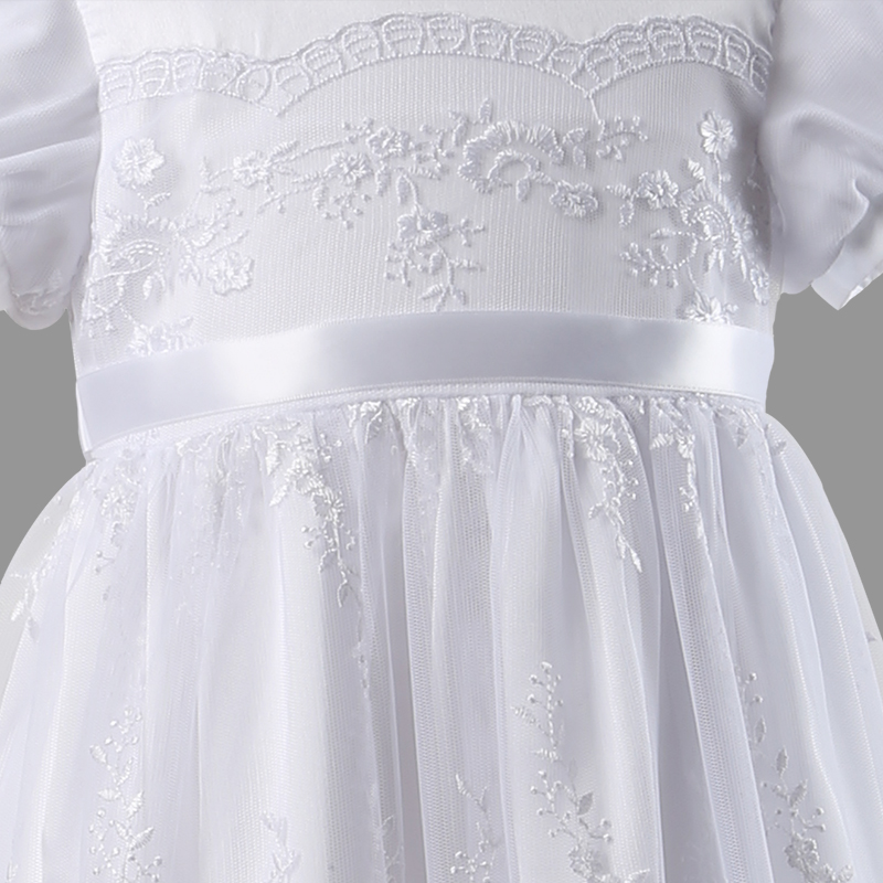 Nimble Newborn Baby Girls Christening Gowns White Lace Embroidered Baptismal Floor Length infant dress vestidosTwo Pieces in Dresses from Mother Kids