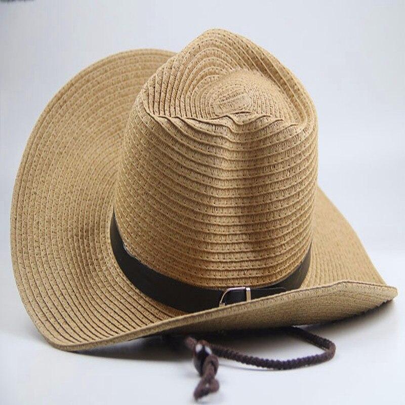 HEWPASKE Mens Sheepskin Leather Hat Male Fashion Fedoras Genuine Leather Cap Adult Fashion Cowboy Hat Wide Brim