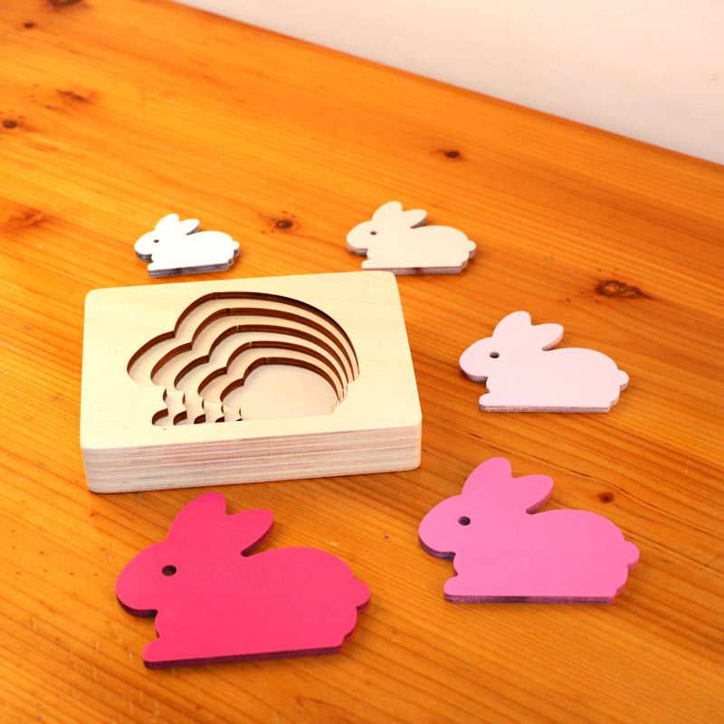 Dropshipping Animal Puzzles For Kids Toys Rabbit/Whale/Elephant Puzzle Enfant Wooden Toys Montessori Educational Gradation Gift 10