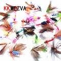 KKWEZVA 60 unids PCs señuelos anzuelos de pesca anzuelos mantequilla mosca insectos estilo salmón moscas trucha simple mosca seca pesca señuelo aparejos de pesca