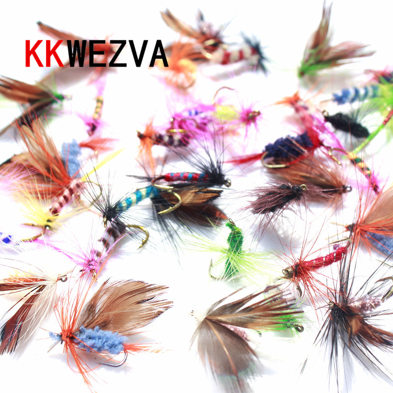 KKWEZVA 60 pcs Umpan Fly fishing Hooks Butter terbang Gaya Salmon Lalat Trout Tunggal Kering Fly Fishing Lure Memancing