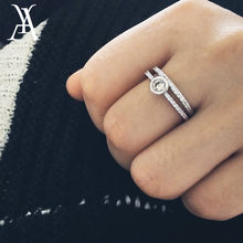 b7a2854a4fc9 AY 2 unids set moda Cubic Zirconia Anillo para las mujeres plata de lujo  del Color Micro pavimentado cristal Anillo del dedo señ.