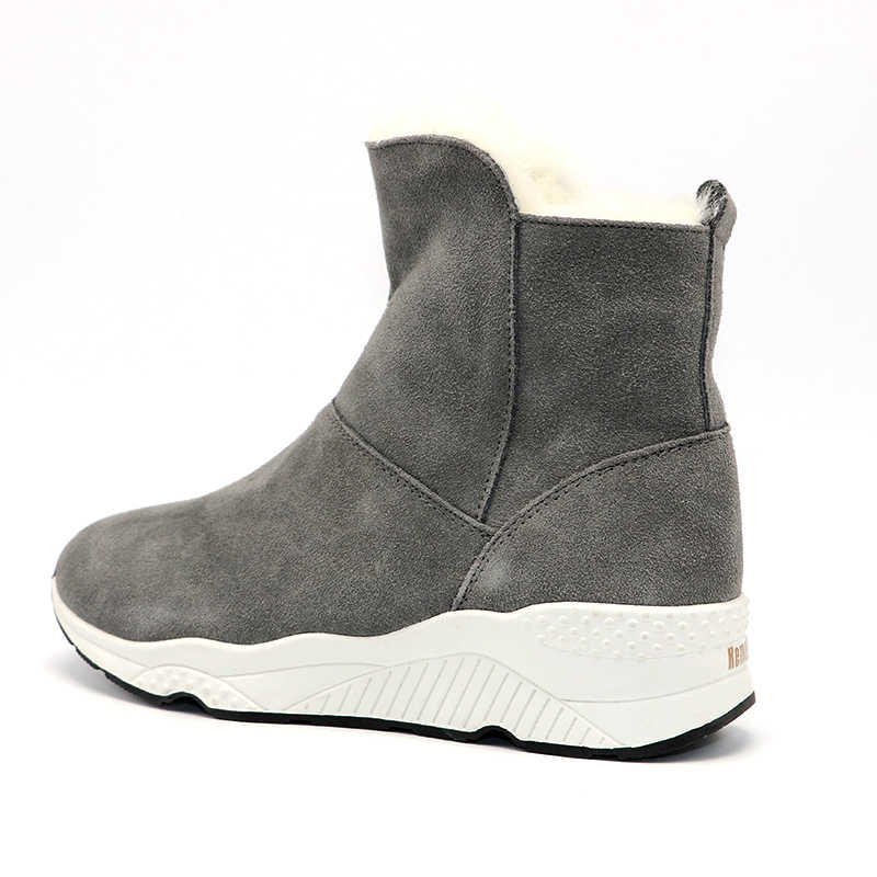 3771a72ca80b ... RAZAMAZA Women Genuine Leather Wedges Snow Boots Zipper Half Short Boots  Warm Winter Shoes Short Botas ...