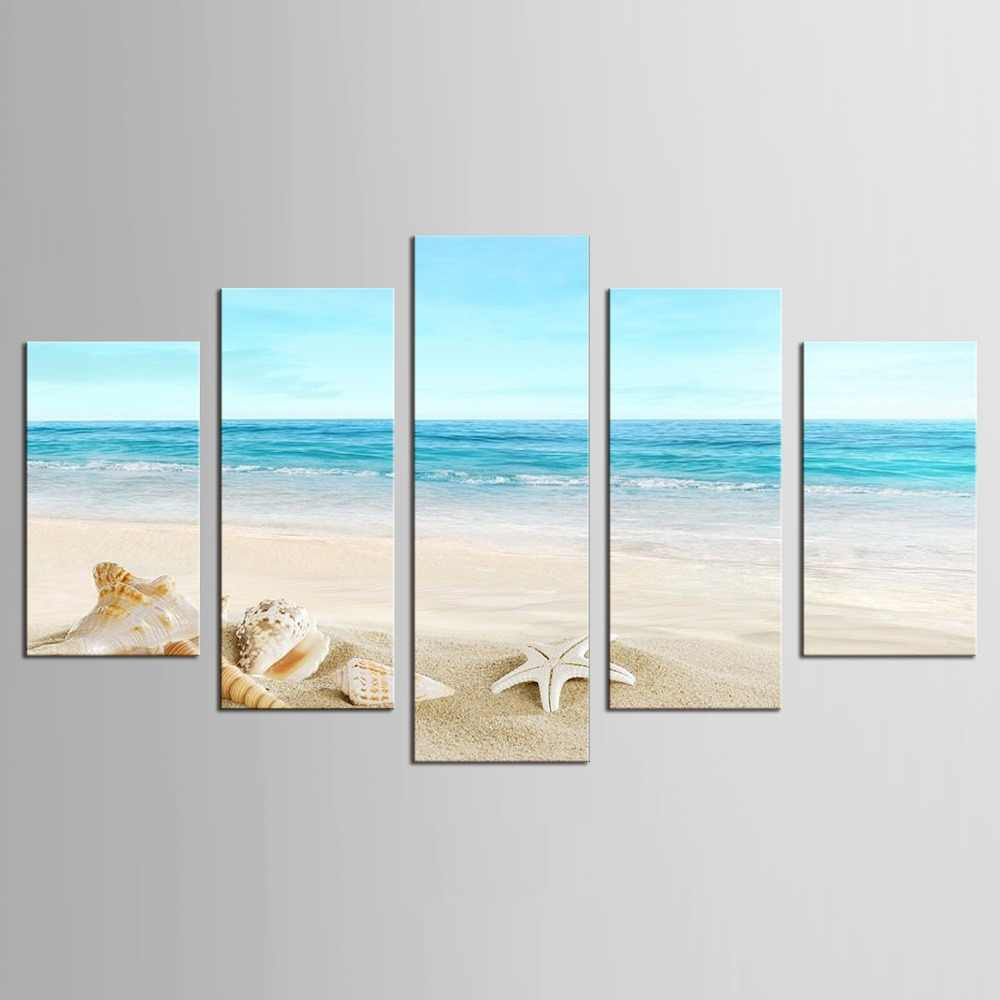 5 Pieces/set Wall Art Modern Print Canvas Paintings Sea Beach Shell Starfish Wall Pictures For Home Decor