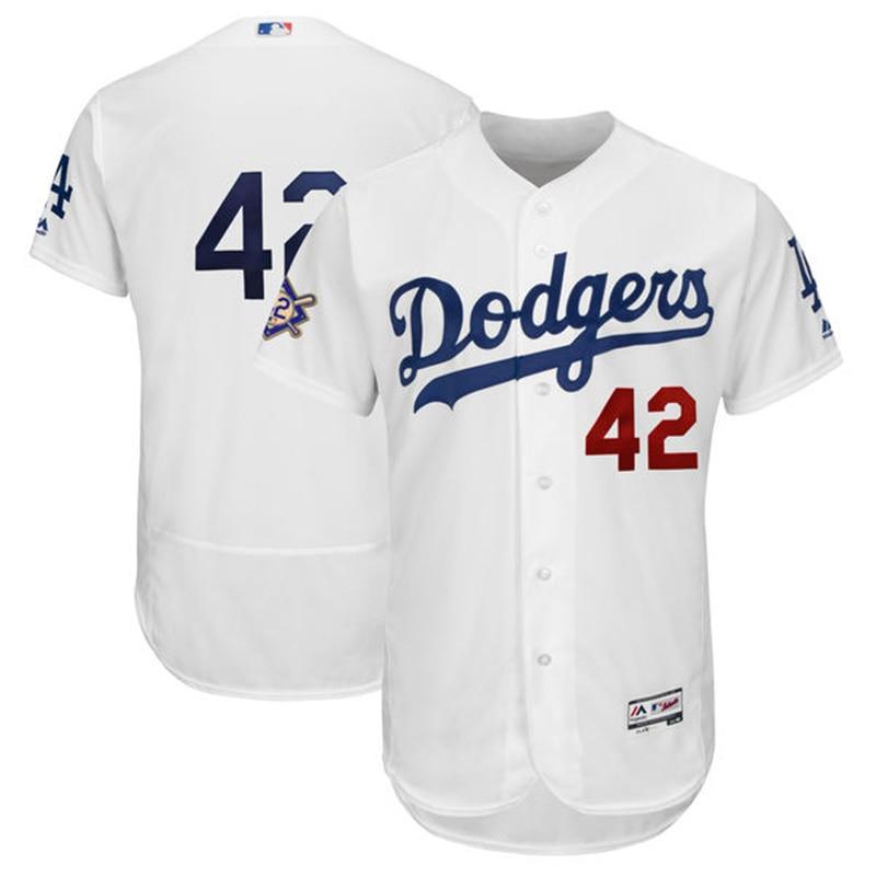 MLB Для мужчин Лос-Анджелес Dodgers Majestic белый 2018 Джеки Робинсон день Flex базы Дж ...