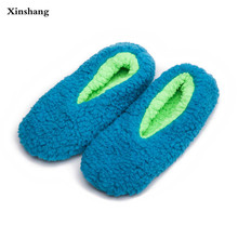 Warm At Home Women Slippers Cotton Shoes Plush Female Floor Shoes Candy Color Soft Bottom Fleece Indoor Shoes Woman Home Slippe
