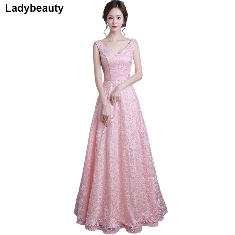 Real Photo 2018 Long Evening Dress Vestido de Festa A line Lace gown V neck dress