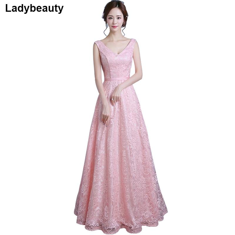 Real Photo 2018 Langes Abendkleid Vestido de Festa A-Linie Spitzenkleid V-Ausschnitt Kleid Robe De Soiree Party Prom Dress