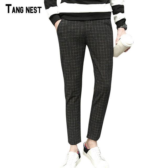 Tangnest calças dos homens 2017 nova moda primavera & outono tornozelo-comprimento xadrez calça casual soltas masculinos dos homens macio calças desgaste mkx1134