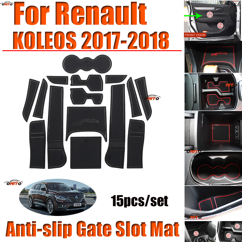 HOT Soft Silicone Door Groove Mat Gate Slot Pad Covers Anti slip Rubber Cup Pad Covers 15pcs/set for Renault KOLEOS 2017 2018|  - title=