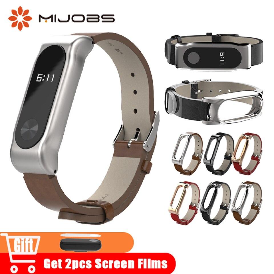 Mijobs Mi Band 2 Wrist Strap Bracelet Leather Replace For Xiaomi Mi Band 2 Wristband Watches For Xiaomi Mi2 Miband 2 Accessories