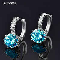BUDONG Luxury Hoop Earrings for Women Silver Color Light Blue/Red/Green Round 9 colors Cubic Zircon Wedding Jewelry XUE005
