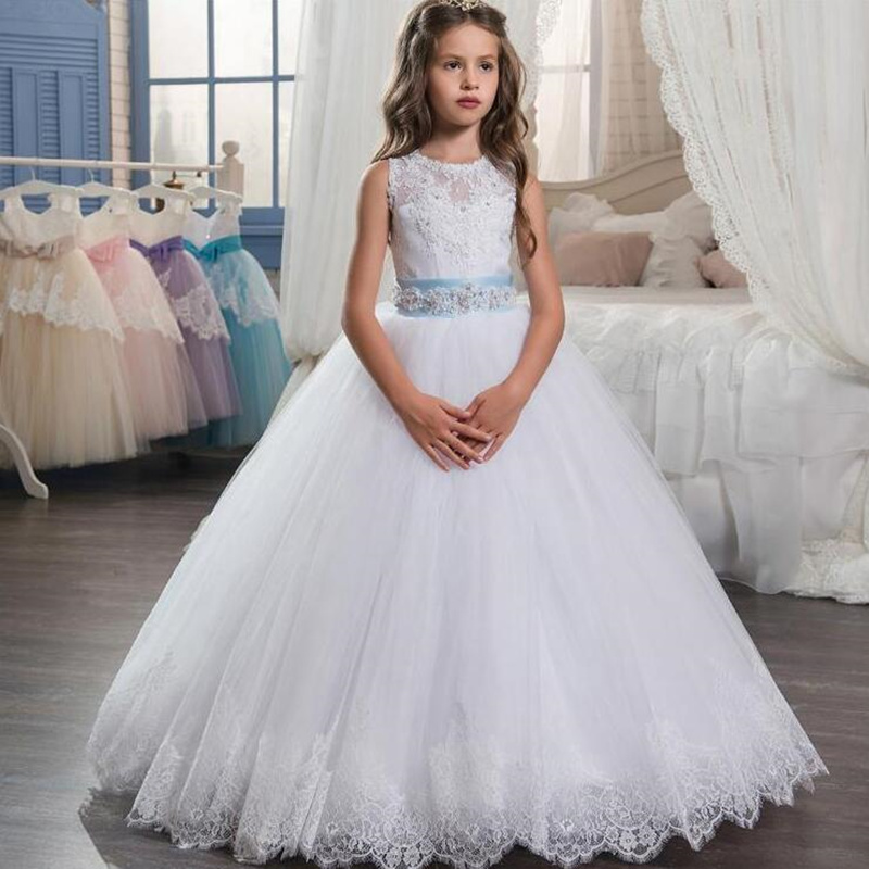 Wedding Lace Flower Girl Dress for Weddings First Communion Dresses for Girls Lace up Back Gown Custom Made