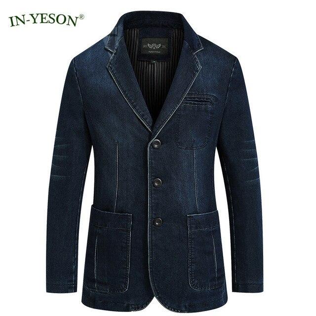 IN-YESON Ocio Denim Blazer Masculino Slim Fit Otoño Jeans Chaqueta de Traje de Diseño de Moda Hombres Blaser Traje Homme Terno