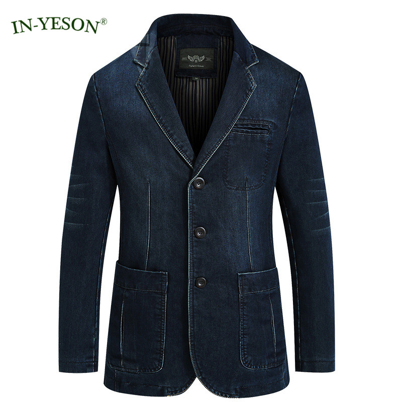 In-Yeson Leisure Denim Blazer Masculino Slim Fit Spring Autumn Jeans Suit Jacket Fashion Design Blaser Men Costume Homme Terno