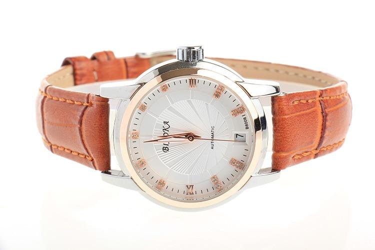 BIAOKA Brand New Fashion Gold Watch Stylish leather women Clock Classic Mechanical Wrist Dress calendar Watch reloj hombre