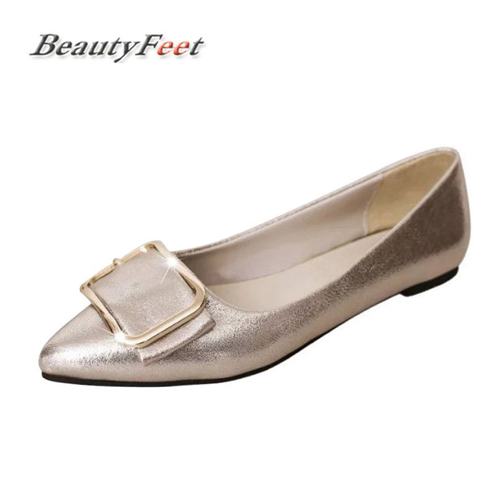 2018 Shallow Mouth Women Shoes Woman Flats Female Buckle Comfort Pointed Casual Shoes Ladies Flats Zapatos Mujer Sapato Feminino women pointed toe flats 2016 casual shoes female graffiti ballet flats mujer zapatos footwear for woman