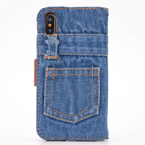 Image 2 - Fashion Jeans Canvas Cloth Leather Case For iphone 6 6s 7 7 Plus Case Book Flip Stand Wallet Bag For iphone X 8 8 Plus Cover Gel
