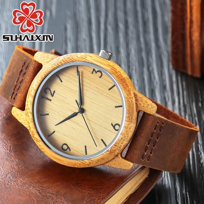 Reloj de madera de bambú SIHAIXIN, reloj de cuarzo romano minimalista para mujer, reloj de madera femenino de cuero de lujo de marca superior para hombre