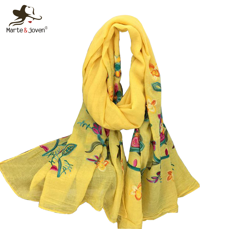 Marte&Joven Fashion Colorful Floral Embroidery Scarf Shawls for Women Elegant Ladies Flower Pattern Yellow Long Pashmina Wraps