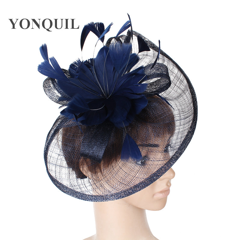 NEW NAVY BLUE HOT Sinamay Fascinators Hat with feather for Wedding Kentucky Derby Ascot Races Melbourne