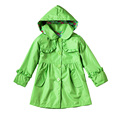 1PC retail, Autumn&Spring 2015 Fashion Children's Windbreaker pure color hooded raincoat, Girls falbala coat jacket size:100-140