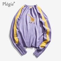 Plegie Mens Sweaters Fashion Hip Hop Pullovers Knitting Streetwear Unisex Deer Embroidery Sweater Male Harajuku Knitted Wear