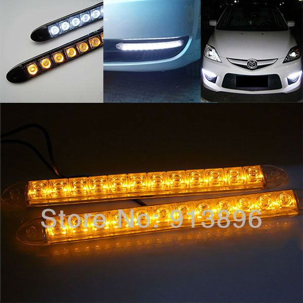 2x 12 led flexible light strip with turning yellow amber light auto 2x 12 led flexible light strip with turning yellow amber light auto drl lens led universal mozeypictures Gallery