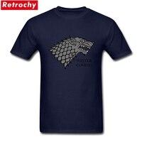 Custom Printed Winter S Coming T Shirt Wolf Men Short Sleeved Male Preshrunk Cotton The Motto