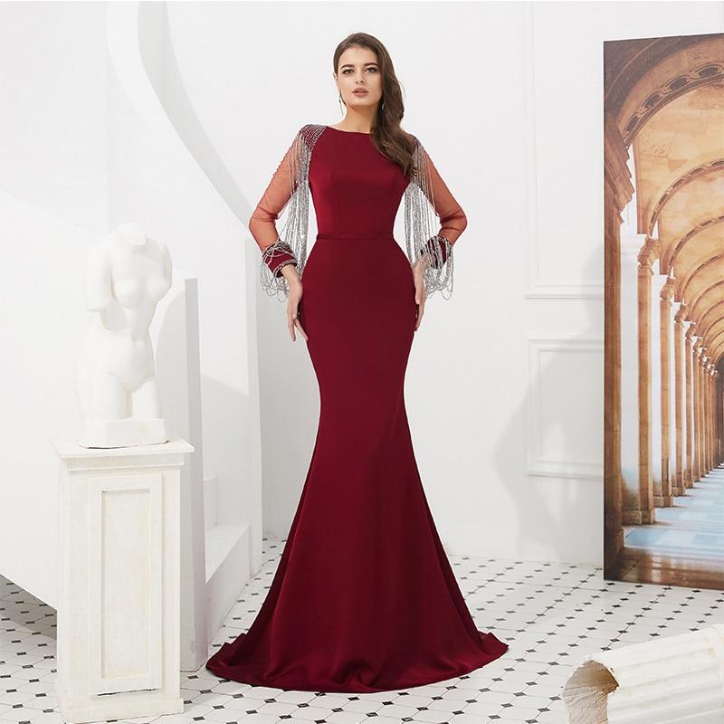 Top qualité bordeaux robes de soirée sirène Style Illusion manches longues gland perles fête formelle robe de soirée robe de soirée