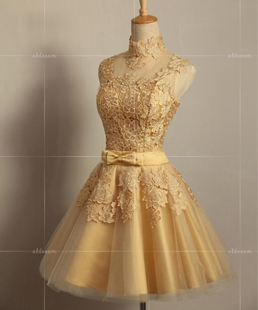 Bridal short evening dress gold design 2014 vintage royal for Vintage wedding dresses for cheap
