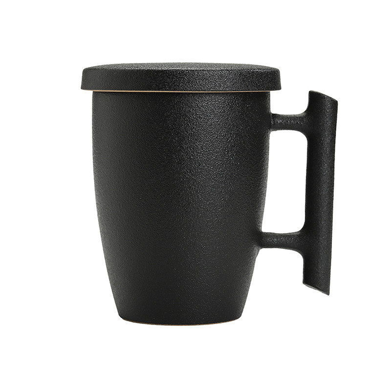 Originality personality black pottery simplicity mug freshness large cup cover cup tea cup office tea set B Кубок