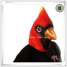 Halloween Party Cosplay Horse Latex Red Cardinal Bird Mask Halloween Costume Accessory rubber Face Birding Fun Animal Head Mask