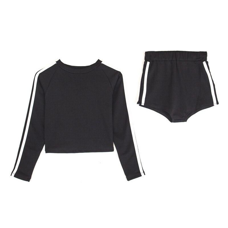 T shirt Deux Serré Et Été High Tissu Street Stretch Pièces Essentiel Shorts En Coton Coups Élégant Noir 2018 jc5ARLq4S3