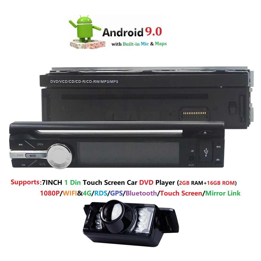 Android 9.0 Universele 1 Din Auto video Player GPS Navigatie In-dash Afneembare Voorpaneel 1 din Auto Radio stereo met BT 2G RAM